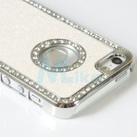 Deluxe White Diamond Rhinestone Glitter Bling Chrome Hard Case Cover for Apple Iphone 5 5g + Lcd Screen Protector + Microfiber Pouch Bag + Stylus Pen