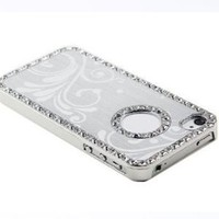 HJX Sliver Deluxe Luxury Ultra Thin Bling Chrome Diamond Hard Back Case for Apple iPhone 5 5G 6th Rhinestone Aluminium Cover with Attractive Flower + Gift 1pcs Insect Mosquito Repellent Wrist Bands bracelet