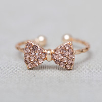 little finger rhinestone bow adjustable Ring