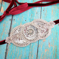 Silver Beaded Headband Art Deco for Women Teens Flapper Style Tie Hair Accessories by Flower Couture