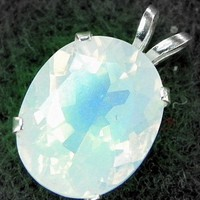 Rainbow Moonstone Jewelry 5.90ct Faceted Moonstone Pendant Necklace
