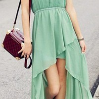 Pastel Green Asymmetrical Maxi Dress