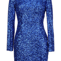 ROMWE | Back Hollow Blue Sequin Dress, The Latest Street Fashion