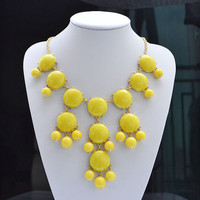 Yellow bubble necklace, Bib Statement Necklace, holiday party,bridesmaid gifts, Beaded Jewelry, wedding necklace Free Shipping