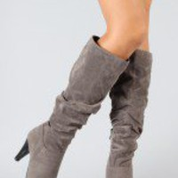 Bamboo Valencia-05 Suede Slouchy Knee High Boot