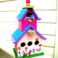 Bird nest with egss on a hand painted Bird house by NancySaporta