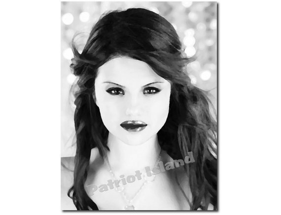 Selena gomez art print impressionist from for Black and white celebrity prints