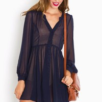 Chiffon Babydoll Dress - Navy in Clothes Dresses at Nasty Gal