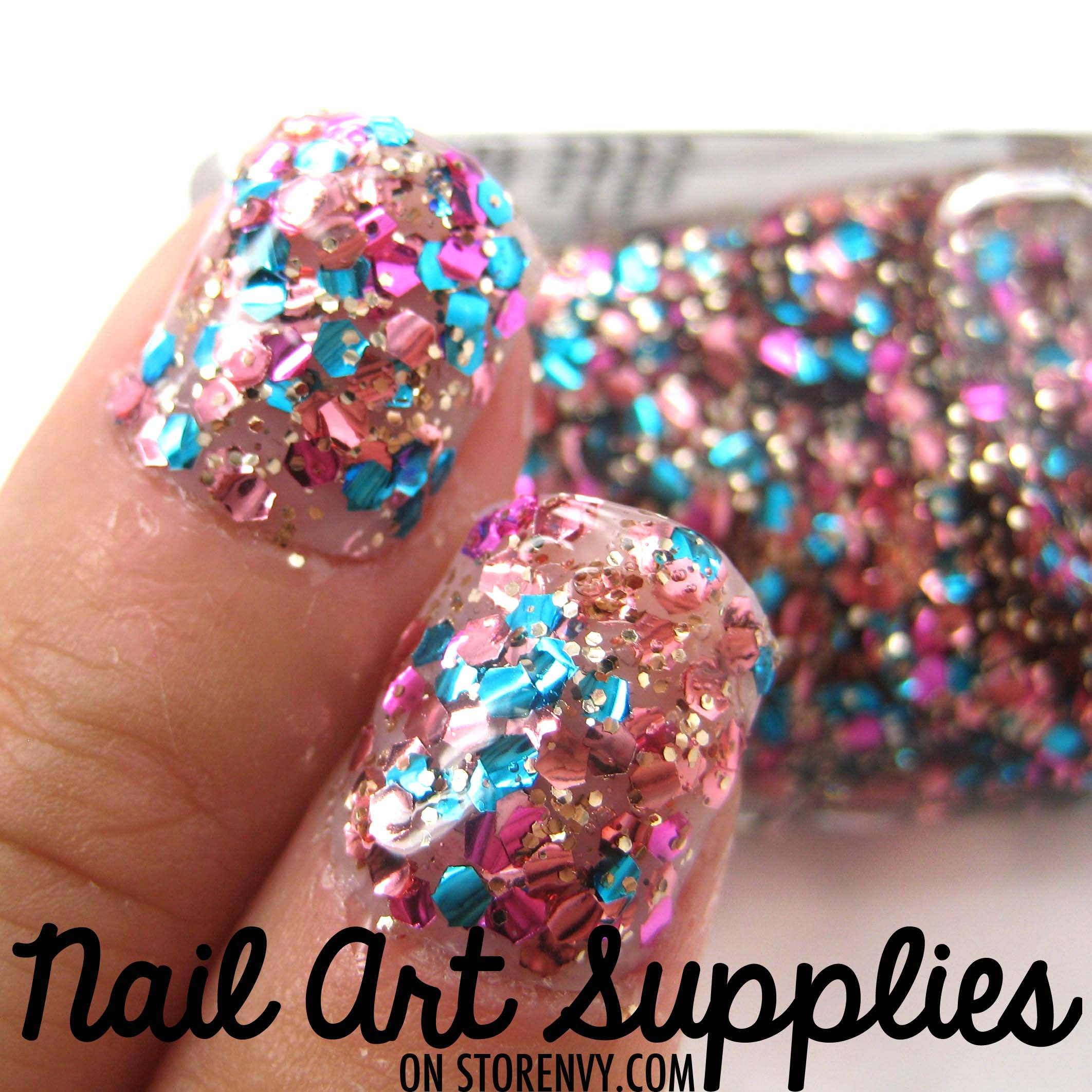 Pink And Blue Glitter Nail Polish: Pink Blue And Gold Glitter From