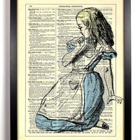 Alice Is Lost, Vintage Dictionary Print, 8 x 10