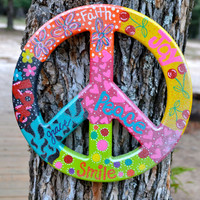 Colorful Hand Painted Peace Sign 12""