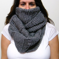 Oversized Hand Knit Cowl in Gray