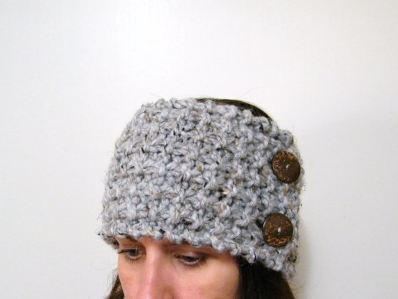 Hand Knit Headband / Ear Warmer or Neckwarmer with Coconut Button in Gray