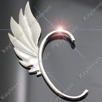 Silver Flame Dragon Wing Ear Cuff Stud Wrap Earrings Goth Punk Rock Fancy Dress