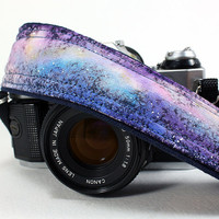 Galaxy 58 Camera Strap, Hand painted, dSLR or SLR, Cosmos, Nebula, OOAK
