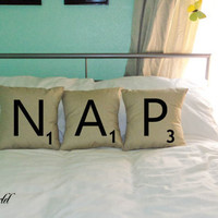 Set of 3 SCRABBLE LETTER decorative pillow by PersonalizedWorld