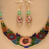 Cloisonne Enamel Floral Bib Aventurine Gemstone Necklace, OOAK Statement, Hand Beaded, Matching Earrings