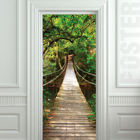 "GIANT Door STICKER rope bridge tropic forest decole film poster 30x79""(77x200cm)"