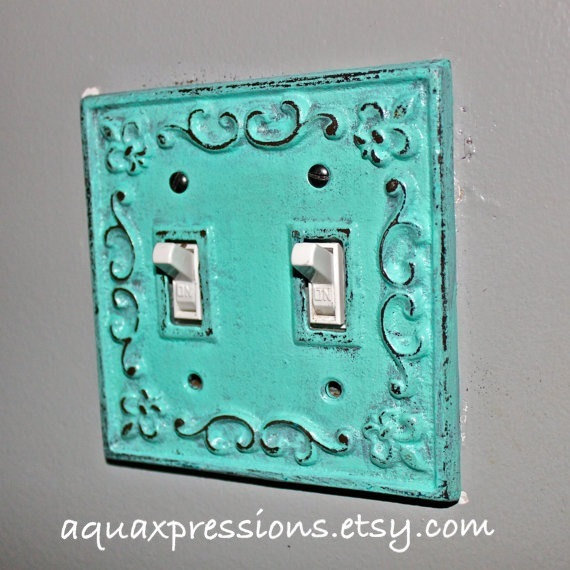 Decorative light switch plate aquamarine from for Unique light switch plates