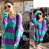 Colors Striped Sweater Knitwear Tops Beautiful Hot Sale Casual New Korea Womens