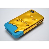 CUTE 3D Melting Ice-Cream Electroplating Gold Cyan Cover Case for iPhone 4 4S