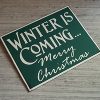 Winter is coming - Green Blank Card - Game of Thrones Inspired Christmas Card