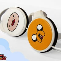 Adventure Time handpainted clip headphones - with Finn and Jake - white orange