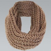 Brown Cable Knit Circle Scarf  with Sequin Detail
