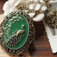 Vintage Green Peacock Pendant Chain Necklace