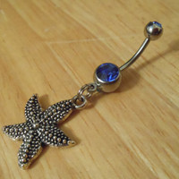 Belly Button Ring - Starfish Belly Ring with Blue Gem