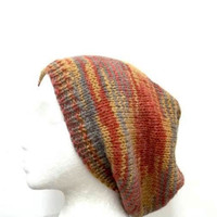 Knit slouch hat  Beanie Colorful Slouch acrylic Beret size large  4444