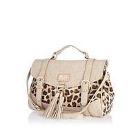 Beige leopard print panel tassel satchel