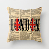 Union Jack Dictionary Art by Adidit Throw Pillow by Adidit | Society6