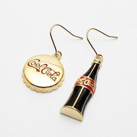 Personalized Gold Tone Coca Cola&amp; Cap Asymmetrical Dangle Earrings