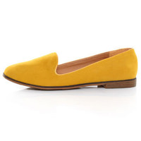 Qupid Strip 27 Mustard Velvet Yellow Loafer Flats - $26.00