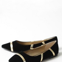 brush of gold flats in black at ShopRuche.com