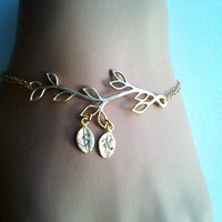 PERSONALIZED INITIAL Gold Tree initial Bracelet  - Bangle Bracelet,Friendship bracelet, Charm Bracelet, wedding bracelet