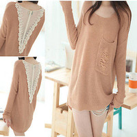 Fashion Korean Women's Elegant Loose Lace Stitching Knitted Sweater Tops Blouse