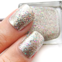 Hidden Gems - Gold Base with Pink and Blue Glitter Nail Polish Lacquer 16ml