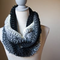 Black Ombre Infinity Scarf - Ready to Ship - FREE SHIPPING - Crochet Loop Scarf - Fall Fashion
