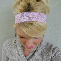 Cotton candy pink stretch lace headband feminine/classic/romantic