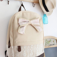 Cream Backpack with Red Floral Bow & Lace-Free Shipping!