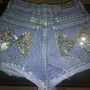 High waisted sequin purple wash denim shorts