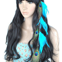 1Pcs Handmade Blue Rooster and Peacock Feather Hair Extensions w Hiden Hair Clip