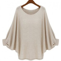 Beige Loose Oversized Knit Jumper with Batwing Sleeves