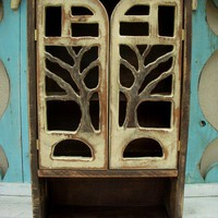 Wood Cabinet  Rustic Shabby Chic Oak Tree by honeystreasures