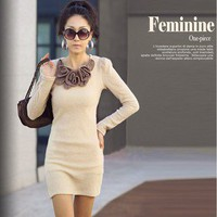 Fashion Womens Korean Style Simple Slim Long Sleeve Solid Dress