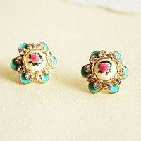 Gorgeous Hand-painted Rose Rhinestone Stud Earrings from http://www.looback.com/