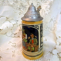 West German beer stein with lid and hallmark 1960s vintage mini stein