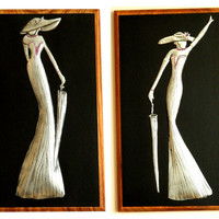 Wall Hanging Pair Pewter Art Deco Ladies